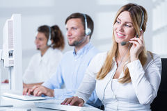 Workers of helpdesk service Stock Image