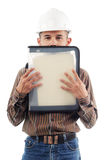 Workers hiding behind his performance file Royalty Free Stock Photography