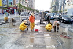 Workers in the highway pavement maintenance Royalty Free Stock Images