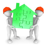 2 workers hold green puzzle house. 3d rendered illustration Royalty Free Stock Photography
