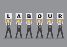 Workers Holding Up Labour Placards Vector Illustration Stock Photography