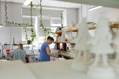 Workers in Imperial porcelain manufactory, St. Petersburg, Russia Royalty Free Stock Image