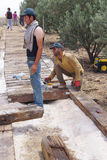 Workers install a new ramp walkwa Royalty Free Stock Images