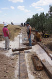 Workers install a new ramp walkwa Stock Image