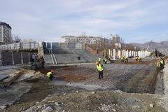 Construction of the embankment along the sea in the city of Novorossiysk royalty free stock photo