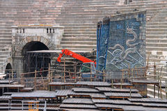Workers install a theatrical stage for the festival in Verona Royalty Free Stock Photography