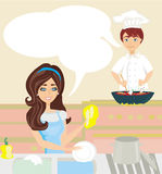 Workers in the kitchen. Woman washes dishes, man cooks a dish Royalty Free Stock Photos