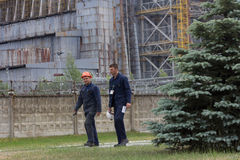 Workers leaving Chernobyl Nuclear Power Plant, Reactor #4 Royalty Free Stock Photos