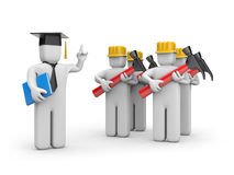 Workers and lecturer or academic. Education concept. Isolated on white Royalty Free Stock Image