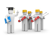 Workers and lecturer or academic Stock Photography