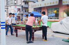 The workers leisure billiards in the industrial zone Stock Image