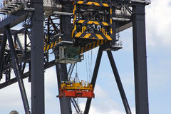 Workers on Lift. Workmen being lifted by suspended lift platform Stock Photo