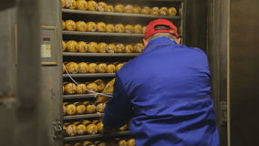 Workers loaded and closed tray with sausage in oven for heat treatment stock video footage