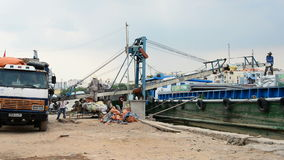 Workers Loading a Boat with Cargo - Ho Chi Minh City (Saigon) Vietnam stock footage