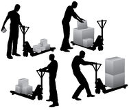Workers loading boxes Royalty Free Stock Image