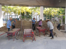 The workers are loading the sand Stock Photos