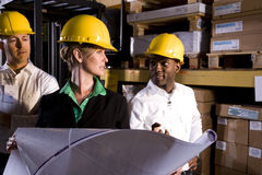Workers looking at floor plans. Multi-ethnic workers with female boss in storage warehouse Royalty Free Stock Photos