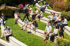 Workers during lunch break, Vancouver downtown Royalty Free Stock Photos