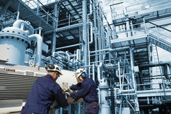 Workers, Machinery, Oil And Gas Industry Royalty Free Stock Photo