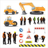 Workers and machines for road construction. Set of road under construction. Machines, workers, signs and banners Stock Photos