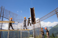 Workers make reinforcement for concrete wall Royalty Free Stock Photography