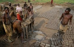 Workers making bricks in Rwanda. Stock Photography