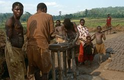 Workers making bricks in Rwanda. Royalty Free Stock Photos