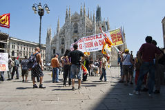 Workers manifestation, piazza Duomo Stock Photography