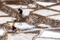 Workers at the Maras salt evaporation ponds in Peru. Royalty Free Stock Photo