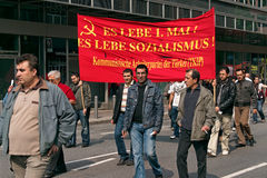Workers marching in Frankfurt Royalty Free Stock Images