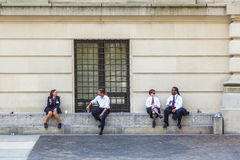 Workers at Metropolitan museum  have a break in the sun Stock Photography
