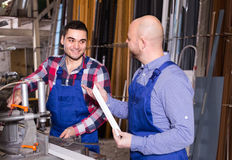 Workers near milling machine Royalty Free Stock Photos