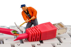 Workers, network connector, keyboard Stock Image