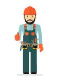 Workers in overalls. Worker in protectiv overalls with tool belt. Conceptual image of work wear.Cartoon flat vector illustration. Objects  on a background Stock Images