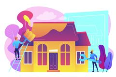 House renovation concept vector illustration. Workers with paintbrush and wrench improving the house. House renovation, property renovation, house remodeling vector illustration