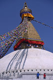 Workers painting Bodhnath Stupa in Kathmandu, Nepal. Royalty Free Stock Image