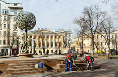 Workers are painting the fountain Adam and Eve. Moscow, Russia. Stock Photo