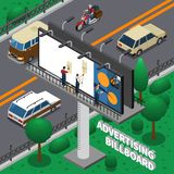 Billboard Isometric Composition. Workers pasting ad poster on billboard, isometric composition with transportation on road, green trees vector illustration Stock Photography