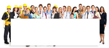 Workers people. Large group of smiling workers people. Over white background