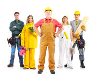 Workers people. Industrial workers people. Isolated over white background stock image