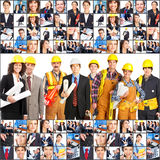 Workers people. Large group of smiling workers people. Over white background royalty free stock photos