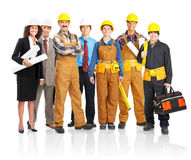 Workers people. Industrial workers people. Isolated over white background stock images