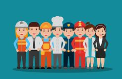 Workers people group different occupation set. Vector illustration Royalty Free Stock Photo