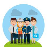 Workers people group different occupation set. Vector illustration Stock Image