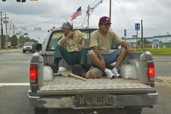 Workers in pickup truck Royalty Free Stock Images