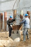 Workers at piling works Stock Images