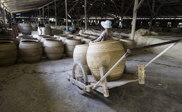 Workers in pottery industry royalty free stock images