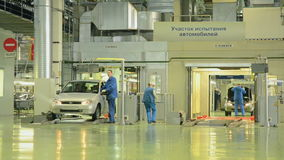 Workers prepare the car Lada Kalina of factory AutoVAZ stock video footage