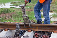 Workers preparing equipment maintenance of the railway Royalty Free Stock Photography