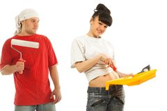 Workers preparing to painting a wall Royalty Free Stock Photo